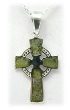Irish Products Genuine Connemara Marble Cross Pendant with ChainJ C Walsh JW1601