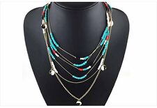 Fashion Beads Multilayer Necklace Chain Bib Long Collar Pendant Green Red White