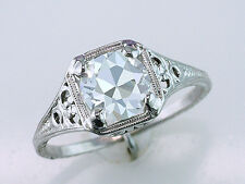Vintage Antique Certified 1.25ct Diamond Platinum Art Deco Engagement Ring