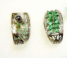 African Green Emerald Marquise & W Topaz J-Hoop Earrings, 925 Silver, 2.02(TCW)