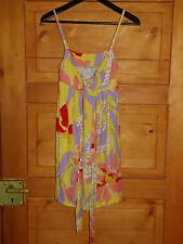 Sommerkleid Strandkleid gelb lila rot zum Binden Spaghettiträger Gr. S Benetton