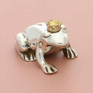 blushed sterling silver & 14k gold crown frog prince figurine