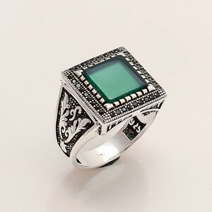 Natural Green Aqeeq Onyx Ottoman Mens Ring 925 Sterling Silver Christmas Jewelry