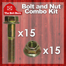 (15) 3/8-16x2-1/2 Grade 8 Hex Flange Bolts & (15) 3/8-16 Flange Lock Nuts Yellow
