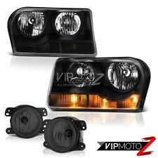2005 2006 2007 2008 Chrysler 300 2.7L Black Headlamps Tinted Projector Foglights