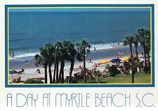 A Day at Myrtle Beach, South Carolina, Beach Scene, Swimming, Surf SC - Postcard