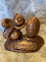 VTG Treasure Craft COLORADO Squirrel Nut Salt Pepper Shaker Kitschy MCM
