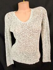 EILEEN FISHER Ecru & Taupe Marle Cotton Open Knit Sweater XS