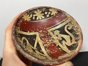 Pre-Columbian Costa Rican ? Primitive Salvaged Painted Clay Art Pottery Bowl i