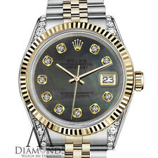 Woman's Rolex 26mm Datejust 2 Tone Black MOP Mother Of Pearl Dial with Diamonds