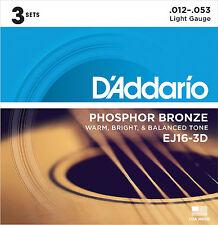 Brand New D'Addario EJ16-3D Phosphor Bronze Light Acoustic Guitar Strings 3-Pack