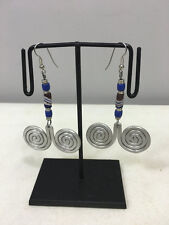 Blue White Brown Sandcast Beaded Earrings Masai African Aluminum Round Coiled