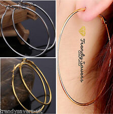 18K Gold Sterling Silver Plated Basket Ball Wives Round Hoop Earrings 2-8cm