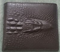 Men's Crocodile Gator Head BLACK BROWN GENUINE LEATHER Bi-fold WALLET ID Window
