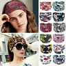 Women BOHO Floral Wide Turban Hair Band Knotted Head Wrap Elastic Yoga Headband