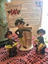 Enesco Elf Salt And Pepper Shakers & Matching Green Elf Pixie Recipe Holder