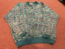 Ladies Clothkits Designs Vintage Green Floral Jumper - Size 10 / 12