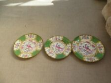 3 rare antique green/pink china phoenix saucers stunning