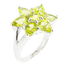 100% NATURAL 7X5MM PERIDOT APPLE GREEN GEMSTONE STERLING SILVER 925 RING SIZE 7