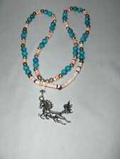 Navajo Medicine Woman Walking Thunder Black & Turquoise Beads Necklace Jewelry
