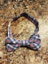Crewcuts J Crew Boys Cotton Red/white/blue Plaid Bow Tie Adjustable S/M Euc