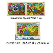 24 PIECE SAFARI JUNGLE LEARNING WOODEN PUZZLES JIGSAW EDUCATIONAL-62573