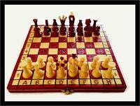 SCACCHIERA IN LEGNO • RICHIUDIBILE PORTATILE ARTIGINALE COMPLETA CHESS • NUOVA
