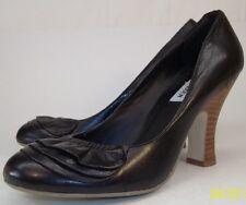 "Steve Madden Womens Shoes US 8 black leather ruffle 3.5"" wood look heels 5762"