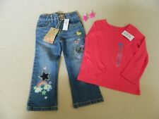 New Set of Girls Sz 3 Childrens Place Appliquéd Jeans and Top With Hair Clips