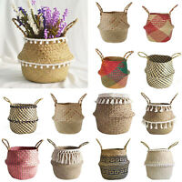 Foldable Seagrass Woven Basket Flower Plants Pots Laundry Storage Holder Baskets