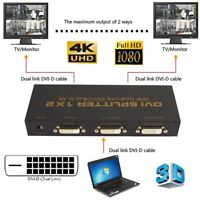 DVI-D 1 X 2 Port  Splitter LCD LED Monitor Box Support Resolution up to 4K 1080P