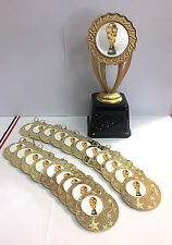 Football World Gold Medals with Free Ribbons.Free Trophy and P&P