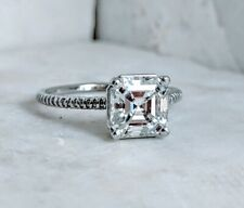 3Ct Near White Asscher Moissanite Solitaire Engagement Ring Solid 14K White Gold