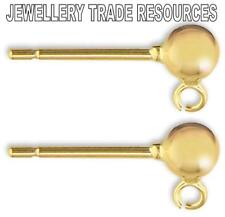 9ct YELLOW GOLD EARRING EAR POST 3mm BEAD & RING STUD