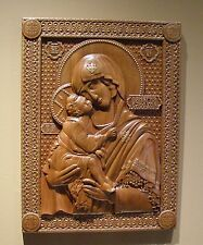 """Red Mahogany Mother of God with Baby Jesus Religious Icon 15"""" x 20"""""""