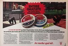 Publicité   La  Vache  qui  rit  Zoo  de  Planckendael / Anvers 1978