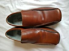 MENS M&S CHERRY BROWN SLIP ON SHOES SIZE 7.5