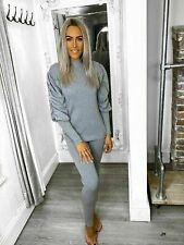 Womens Ladies Rib High Neck Ruched Sleeve Top Bottom Lounge Wear Tracksuit Set