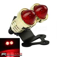 CNC Brass Motorcycle LED Dual Tail Light Rear Lamp With Steel Bracket For Harley