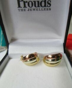 Ladies 9ct tri colour gold earrings. 375 New con Never worn. white, rose, yellow