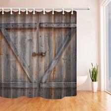 Vintage Wooden Barn Door Bathroom Fabric Shower Curtain Extra Long 84 Inch