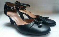 Ladies Clarks size 4 black leather strappy court shoes heels covered toe vgc