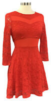 Material Girl Women's Red Size M 3/4 Sleeve Mesh-Trim Lace Dress w/Gold Zipper