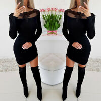 ️ Women's Sexy Lace Mesh Bodycon Long Sleeve Evening Cocktail Party Mini Dress