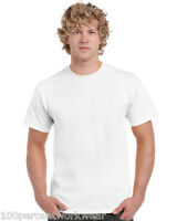Size SMALL Gildan Heavy Cotton WHITE Short Sleeve Mens Crew Neck Tee T Shirt New