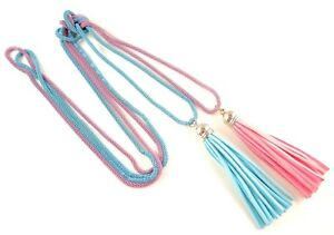 Light Blue & Pink Long Bohemian Double Layer Tassel Hollow Chain Necklace #B324