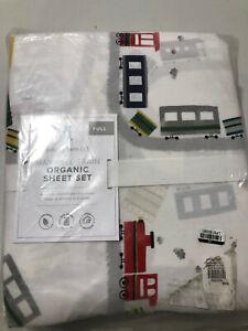 Pottery Barn Kids Organic Maxwell Train Sheet Set Full 4 Piece NEW