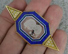 Quality 18ct Gold Rock Crystal Diamond Malachite Lapis Lazuli Pendant