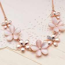 Women's Rose Gold Plated Flowers Opal Rhinestone Pendant Chain Necklace Engaging