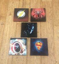 1 SET Of These 5 Marvel & DC Super Hero Logo Canvas Pictures 15cm X 15cm
